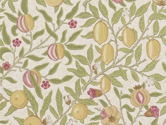 Дизайнерские обои с фруктовыми плодами  Fruit W/P арт. 216840 из коллекции Compilation Wallpaper от Morris в интерьере. Купить недорого, Compilation Wallpaper, Обои для гостиной, Обои для кухни