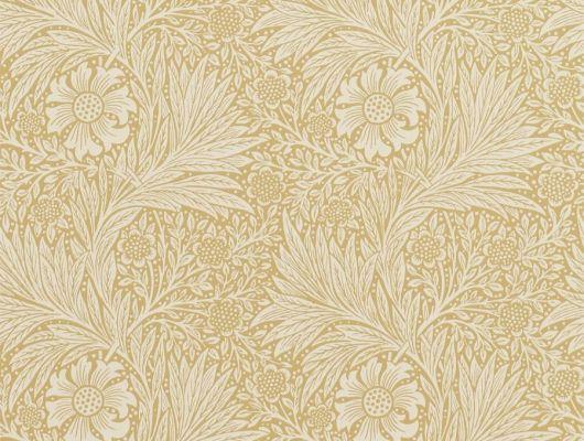Дизайнерские обои для коридора в бедевом цвете с разнообразием растений Marigold арт. 216832 из коллекции Compilation Wallpaper от Morris недорого. Фото в интерьере, Compilation Wallpaper, Обои для гостиной, Обои для кабинета