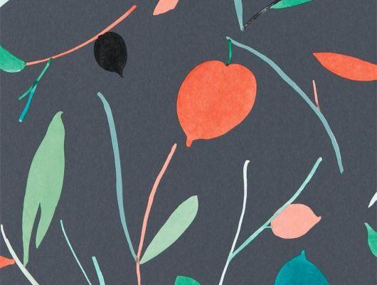 Заказать английские обои в столовую арт. 111997 дизайн Oxalis из коллекции Zanzibar от Scion, Великобритания с  принтом в виде листьев в красивых оранжево-зеленых тонах на темно-сером фоне в шоу-руме в Москве с бесплатной доставкой, онлайн оплата, Zanzibar, Обои для гостиной, Обои для спальни