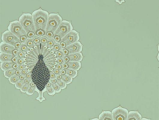 Дизайнерские обои Kalapi арт. 216759 из коллекции Caspian, Sanderson, с павлинами на фоне морского стекла по цене от поставщика., Caspian, Обои для гостиной, Обои для спальни