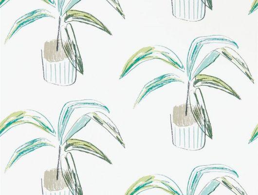 Выбрать на сайте Odesign.ru обои в столовую арт. 111993 дизайн Barbican из коллекции Zanzibar от Scion, Великобритания с  принтом из стилизованных домашних растений в зелено-бежевых тонах на молочном фоне в шоу-руме в Москве, широкий ассортимент, Zanzibar, Обои для гостиной, Обои для спальни