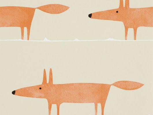 Купить обои для спальни Mr Fox с рыжими лисами на бежевом фоне арт. 112271/110847 из коллекции Esala от Scion недорого, Esala, Обои для гостиной, Обои для кухни