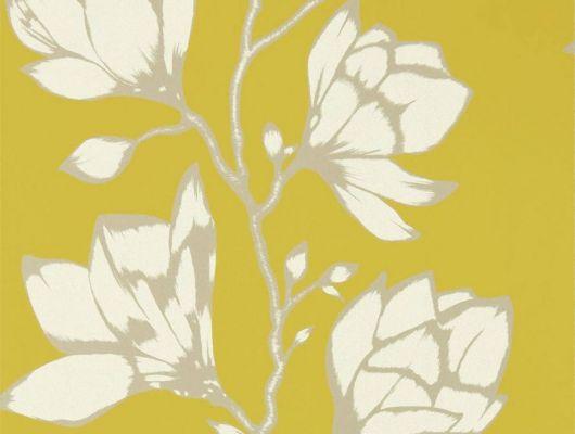 Заказать обои в квартиру арт. 112142 дизайн Lustica из коллекции Salinas от Harlequin, Великобритания с крупным рисунком цветов  на желтом фоне в интернет-магазине в Москве, Salinas, Обои для гостиной, Обои для спальни