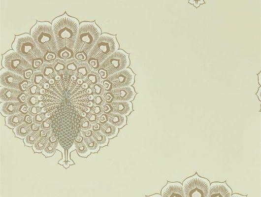Подобрать обои в спальню, арт. 216758 из коллекции Caspian, от Sanderson с изображением павлинов на пергаментном фоне, в каталоге., Caspian, Обои для гостиной, Обои для кабинета, Обои для спальни