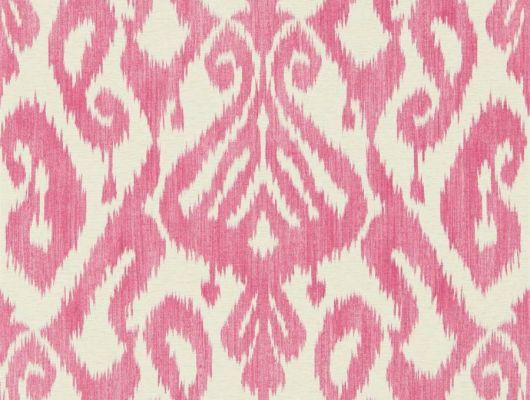 Дизайнерские обои Kasuri арт. 216780 из коллекции Caspian в смелом цветовом решении розового на льняном фоне подойдут  для спальни., Caspian, Обои для гостиной, Обои для спальни