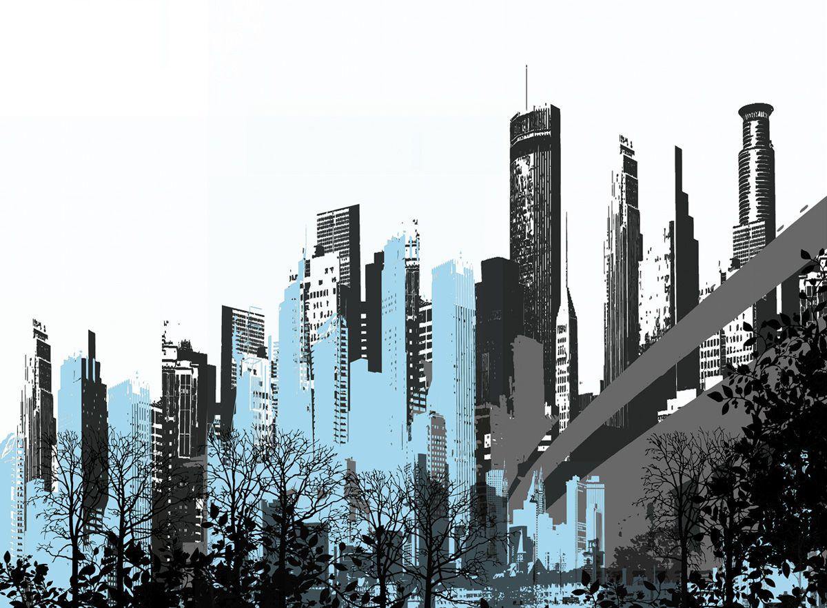 обои город рисунок летучие