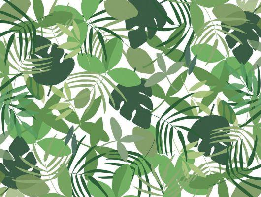 Фотопанно с векторной графикой с изображением зеленых листьев на белом фоне, купить в Москве, Urban Nature, Детские обои, Флизелиновые обои, Фотообои