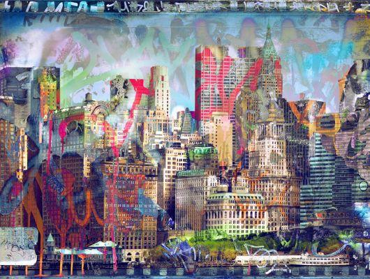 """Фотообои для детей """"Город граффити"""" с изображением современного мегаполиса покрытого яркими граффити, для подростков в каталоге фотообои., Urban Nature, Детские обои, Детские фотообои, Обои для гостиной, Флизелиновые обои, Фотообои, Хиты продаж"""
