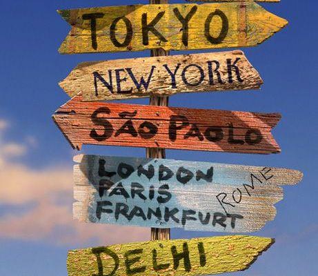 """Фотообои """"Указатели"""" с указателями различных направлений в любые города мира в разделе фотообои., Destinations, Обои для прихожей, Фотообои, Хиты продаж"""