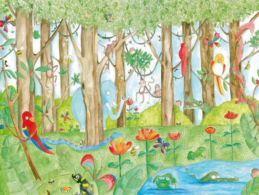 """Детские фотообои """"Приятели из джунглей"""" с различными обитателями дикого леса, такими как слон, змея, пчелка, обезьяны, папугаи и другие,разукрашенные акварелью сделают из детской настоящий праздник., Hide & Seek, Детские обои, Детские фотообои, Фотообои, Хиты продаж"""