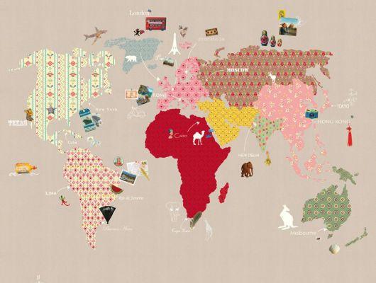 Детские фотообои с картой мира на темно бежевом фоне, Hide & Seek, Traveller, Детские обои, Детские фотообои, Флизелиновые обои, Фотообои