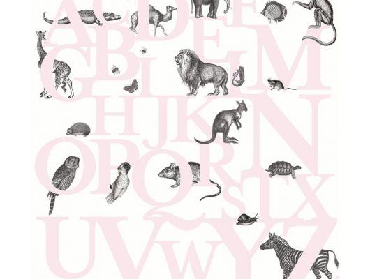 Детские фотообои с розовыми буквами и животными на белом фоне, Hide & Seek, Детские обои, Детские фотообои, Флизелиновые обои, Фотообои