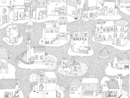 Черно белый город на фотопанно который только предстоит разукрасить, Hide & Seek, Детские обои, Флизелиновые обои