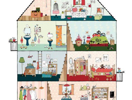 """Детские фотообои """"Дом милый дом""""с четырехэтажным домом для всей семьи., Hide & Seek, Детские обои, Детские фотообои, Флизелиновые обои, Фотообои"""