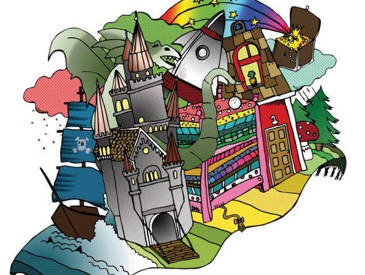 """Детское фотопанно """"Волшебный ковер"""" с ковором самолетом на котором замок, сундук, дом, кровать, за которой дракон., Hide & Seek, Детские обои, Детские фотообои, Флизелиновые обои, Фотообои"""