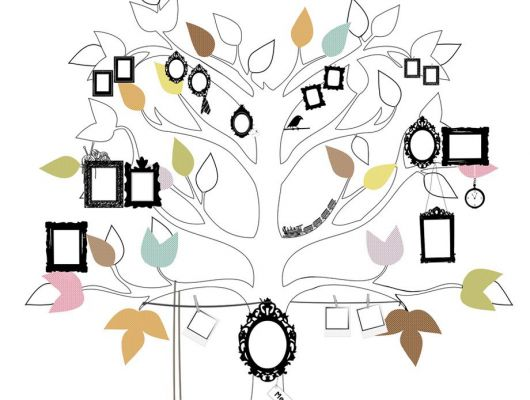 Детское фотопанно с деревом малыша, с возможностью повесить на них рамки всех членов семьи, Hide & Seek, Детские обои, Детские фотообои, Флизелиновые обои, Фотообои