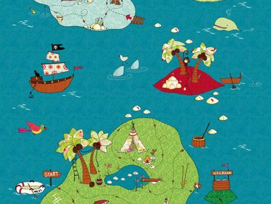 """Фотообои для детей """"Карта сокровищ"""" с островами в море полном приключений сделают из ребенка настоящего пирата., Hide & Seek, Детские обои, Фотообои"""