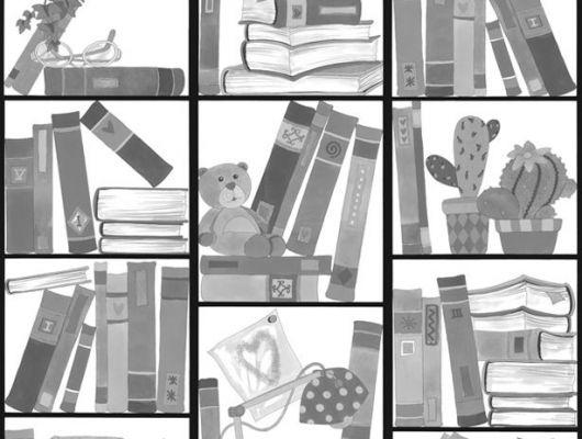 Фотообои для детей с черно белым нарисованным шкафом для всяких мелочей, Hide & Seek, Детские обои, Детские фотообои, Флизелиновые обои, Фотообои