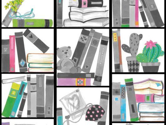 Фотообои для детей с нарисованным книжным шкафом, Hide & Seek, Детские обои, Детские фотообои, Флизелиновые обои, Фотообои