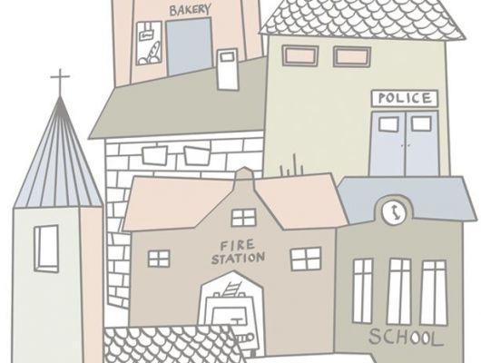 Детское фотопанно с нарисованным городом, где есть школа, почта, полиция и многое другое, Hide & Seek, Детские обои, Детские фотообои, Флизелиновые обои, Фотообои