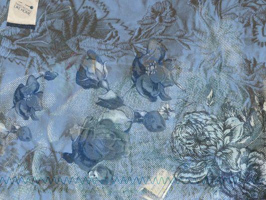 """Фотопанно """"Изящность цветов"""" с принтами и вышивкой цветов на джинсовом синем фоне купить в Москве., Fashion, Обои для спальни, Флизелиновые обои, Фотообои"""