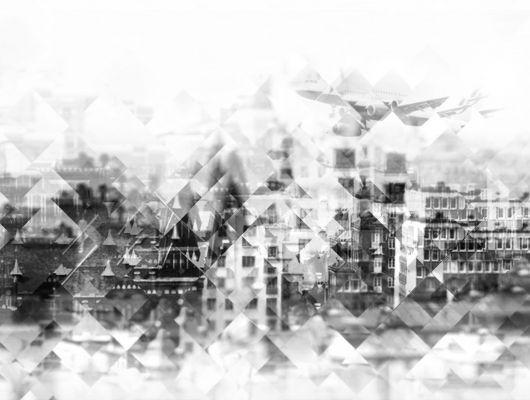 """Фотопанно """"Кристально чистый"""" с изображением города и самолета, сквозь граненый кристалл в каталоге интернет-магазина """"ОДизайн"""", Nostalgic, Фотообои"""