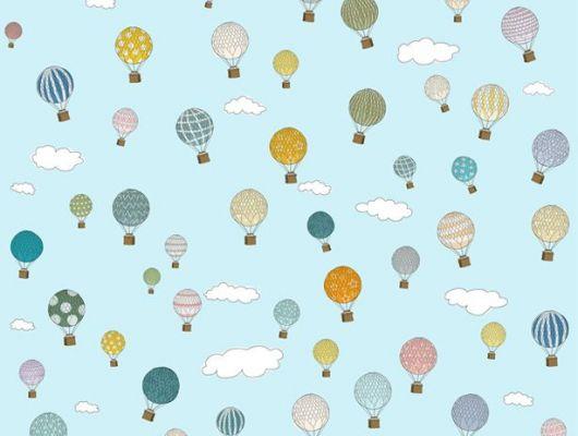 Детские фотообои с разноцветными воздушными шарами на фоне голубого неба, Interaction, Детские обои, Детские фотообои, Фотообои