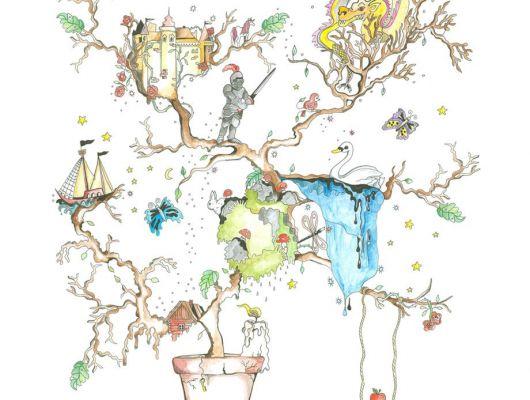 """Фотообои для детской """"Сказка"""" с изображением волшебного дерева на котором есть озеро с лебедем, замок, на нижней ветви плывет корабли а на верхней живет уже четвертый век мудрый дракон, Interaction, Детские обои, Детские фотообои, Обои для спальни, Фотообои"""