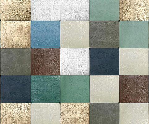 Фотообои с квадратной плиткой вымощенной в золотых, зеленых, белых, синих и коричневых цветах, Daily Details, Фотообои