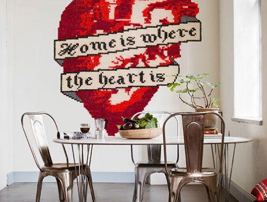 """Фотообои с сердцем вышитое крестиком, с надписью дом там, где сердце""""Home is where the heart is"""", Street Art, Фотообои"""