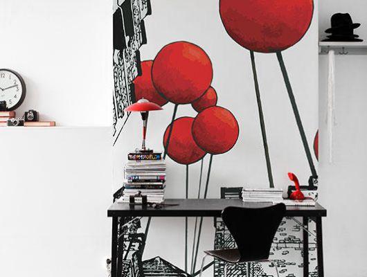 Фотообои с красными шарами взмывающими вверх, с необычной перспективой снизу вверх купить онлайн., Street Art, Фотообои