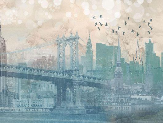 Фотообои с коллажом из узнаваемых зданий Нью Йорка, в утренней дымке, выполненных в сине-зеленых и бежевых цветах купить., Shades, Дизайнерские обои, Фотообои, Хиты продаж