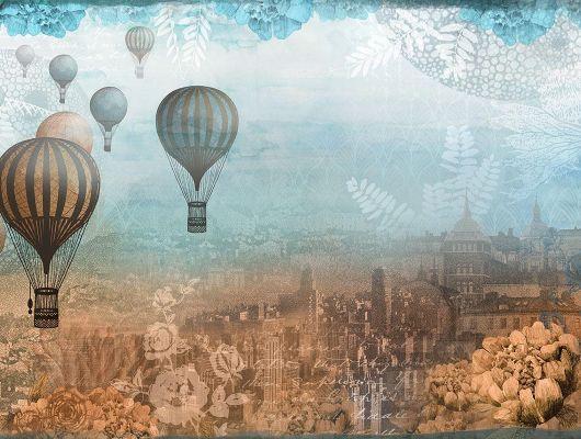 Фотообои с воздушными шарами на фоне города с высоты птичьего полета, купить в Москве, Shades, Дизайнерские обои, Фотообои, Хиты продаж