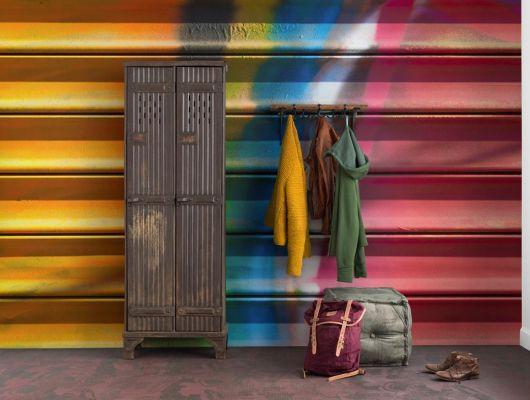 Дизайнерское фотопанно с ярким рисунком гаражной двери раскрашенной взрывными красками купить в интернет магазине, Underground, Дизайнерские обои, Фотообои, Хиты продаж