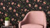 Обои Fardis арт. 11718, где розы шиповника на тёмном фоне с детально прорисованными лепестками красных и желтых цветов, красиво извиваясь, плетут великолепный обойный узор и в то же время дарят милое ощущение загородной жизни. Каталог обоев, обои для квартиры, обои на стену.
