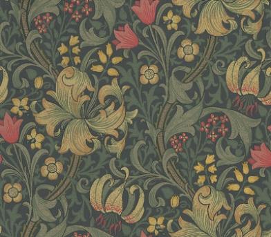 Заказать дизайнерские обои для спальни  Golden Lily арт. 216853 с лилиями на темном фоне из коллекции Compilation Wallpaper от Morris, Compilation Wallpaper, Обои для гостиной, Обои для кабинета, Обои для кухни
